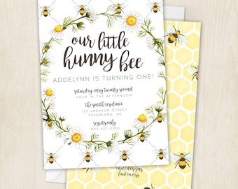 Hunny Bee - Birthday - Honey Bee - Bees - Honey Birthday Party - First Birthday - Bumble Bee - Invitation - Digital/Printable File