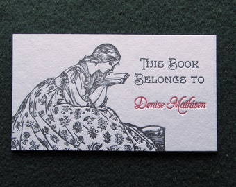 25 Custom Bookplates, Bookmarks, Book Inserts, Letterpress Printed