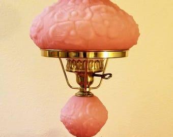 Fenton Pink Satin Glass GWTW/Hurricane Lamp With Poppy Pattern