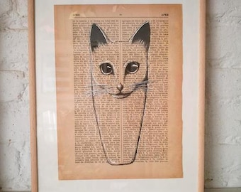 CATS No. 3. Printed drawing on recycled paper with highlights in black ink. 9,5x6,8in. Gift, Christmas, la petite illustration, cats