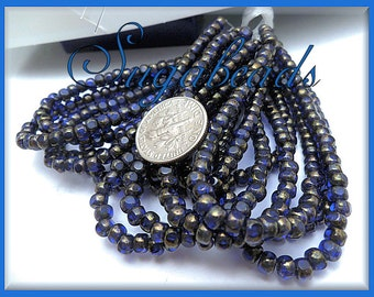 50 Sapphire Blue with Gold finish Trica Beads - Czech Glass Trica Seed Beads - Tri-cut seed beads 4mm x 3mm CZN9