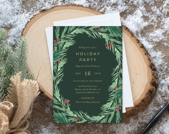 Editable Template - Instant Download Mistletoe Holiday Party Invitation