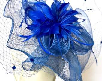 Kentucky Derby ROYAL BLUE  Fascinator Blue Derby Hat