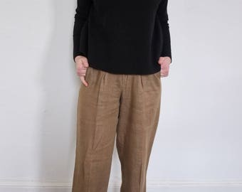 Vintage Linen High Waisted Trouser Pants, Size 6