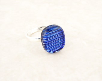 Blue fused glass dichroic ring, 925 sterling silver adjustable ring, chunky costume ring, statement ring