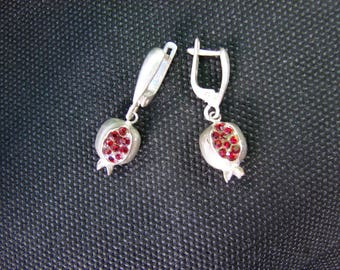 Pomegranate  Earrings Sterling Silver 925 with Red Zircon, Armenian Handmade Jewelry, Gift for Her