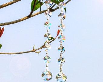 Mobile SunCatcher Feng Shui glass ball transparent faceted ball 20 mm length 17 cm