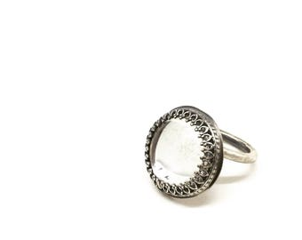 Vintage glass cabochon ring silver glass ring mirror glass ring vintage glass ring statement ring mercury glass ring