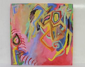 "Medium Abstract Art Acrylic Expressionist Colour Painting ""Portal"" ,Contemporary, Home decor, Original Artwork, Rainbow, Colourful, Office"