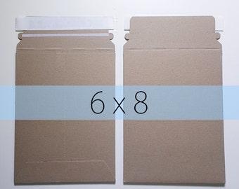 10 6x8 Inch Rigid Stay Flat Kraft Brown Rigid Mailers Self Sealing Photo Stickers Decals Shipping Cardboard Envelope Bag