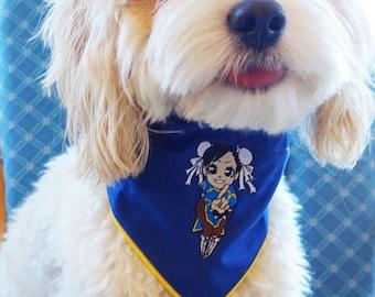Street Fighter Streetfighter Chibi Chunli Chun-Li Dog Cat Bandana Bandanna Embroidered Piped Edge Blue Yellow Licensed Pocketfighter Arcade