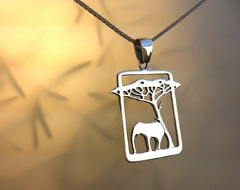 Sterling Silver Elephant And Acacia Tree Pendant