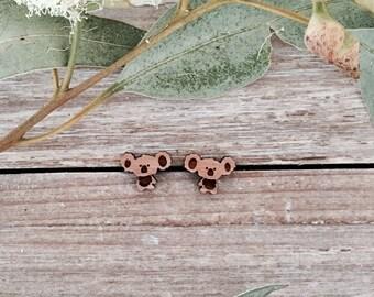 Wood Koala Laser Cut Stud Earrings - Australiana - Koala earrings - Australian Jewelry