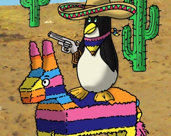 Penguin on a Pinata Fridge Magnet