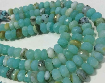 """AAA Peruvian Blue Opal faceted rondelle gemstone beads 8""""inches Natural 9mm-10mm AAA quality"""