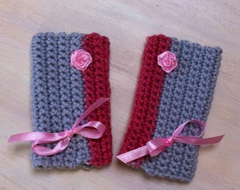 Fingerless gloves crochet gray and pink bow satin