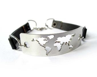 Wanderlust Bracelet / Metal Wanderlust Bracelet / Wanderlust / Travel bracelet / Wanderlust World Map / Wanderlust Jewelry