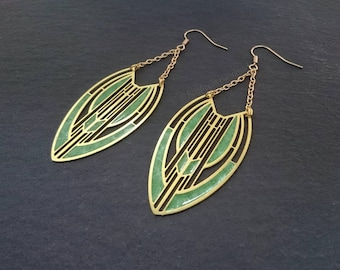 Lime Green Art Deco Earrings, Resin Earrings, Limited Edition