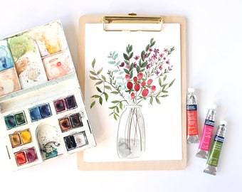 Winter Berries- Original Floral Watercolour