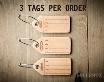 Luggage Tag 3 Pack, baggage tag, travel tag, name tag, leather tag, address tag 098