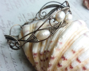 White Pearl Silver bangle Bracelet wire wrapped cuff Bracelet Women Handmade Jewelry Gift for Her