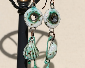 White Speckle, Bronze and Verdigris Patina Copper Earrings