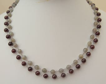 Garnet and Labradorite Necklace, Double Strand, Grey, Red, Sterling Silver, Mother, Gift, Handmade