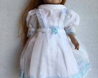 "Dress with pinafore fits 18""dolls such as American girl"