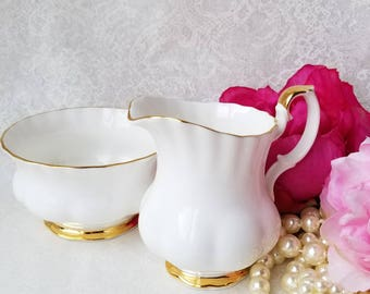 Vintage Royal Albert/Cream and Sugar Set / Val D'Or Beautful White and Gold Classic China Pattern