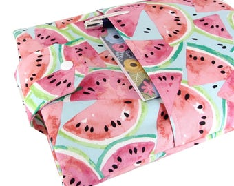 Watermelon Book Sleeve - Front Pocket, Two Sizes: Paperback & Hardback - Makes A Great Book Cover For Yourself Or Book Lover Gift!
