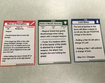 Dungeons and Dragons Item Cards