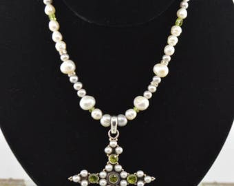 Green Peridot and Fresh Water Pearl Necklace and Handcrafted Cross Pendant