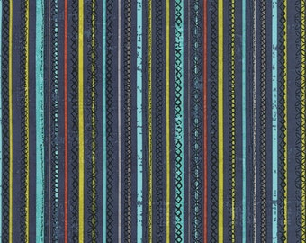 Moda - Garden Project by Tim and Beck Stitched Stripe in Blueberry 39544-18