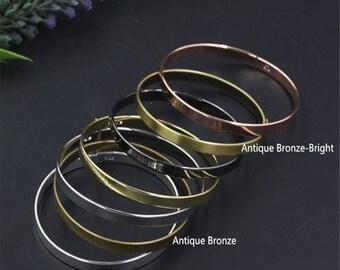 5pcs Brass Bracelet Blank, Brass Bracelet Stamping Blank Bangles,Diameter 60mm