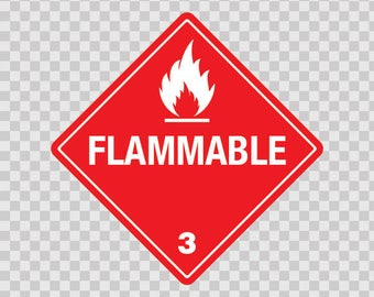 Decals Sticker safety sign Hazard Classification Class 3: Flammable 18841