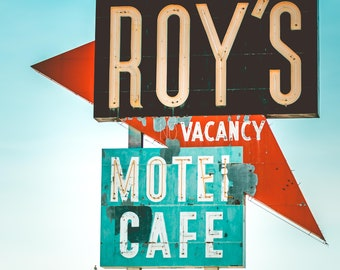 Retro Wall Decor Route 66 Mid Century Modern Travel Photography Roys Motel Print Vintage Route 66 Sign California Print Retro Motel Print