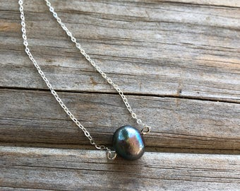 Black Freshwater Pearl Necklace, Single Pearl Necklace, Sterling Silver necklace, Beaded Pearl Necklace, Gift for Her, Gift for Women