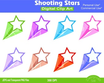 Shooting Stars, Shooting Star, Shooting Stars clipart set, Phone cases, Commercial Personal Use Instant Download