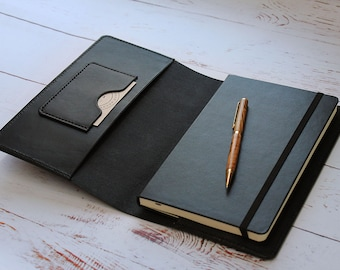 Leather A5 Notebook Cover Black, Moleskine A5 Cover, Leather Journal Cover, Refillable Notebook Cover, Leather Christmas Gift For Him