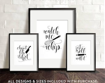 Kitchen wall art, PRINTABLE art, Funny kitchen art, Kitchen printables, Chop it like it's hot, Watch me whip, Just roll with it, Wall decor