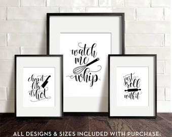 Kitchen wall art PRINTABLE art Funny kitchen art Kitchen printables Chop it like itu0027s hot Watch me whip Just roll with it Wall decor  sc 1 st  Etsy & Kitchen printables | Etsy