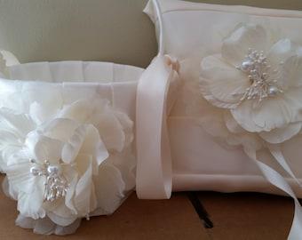 SALE - Wedding Flower Basket, Flower Girl Basket, Flower Basket & Ring Bearer Pillow Set - Style BKBPF103