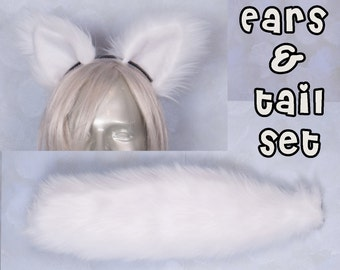 White Furry Fox Tail and Ears-Solid , Luxury, Cosplay, Accessories, Costume, Highly Customizable