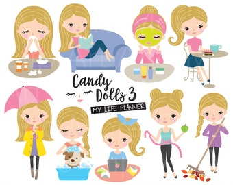 Blonde Woman Planner Clipart Cute Blonde Girl Clipart Blonde Hair Girl Planner Sticker Clipart Girl Lifestyle Clipart Blonde Sticker Clipart