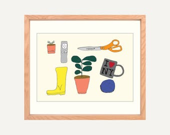 "Things, A4/8x10"" Print on Textured Canvas Paper. Original illustration of a succulent, a fiddle leaf fig, Fiskars scissors, I Heart New York"