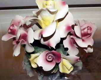 Capodimonte Vintage Antique Porcelain Basket of Roses