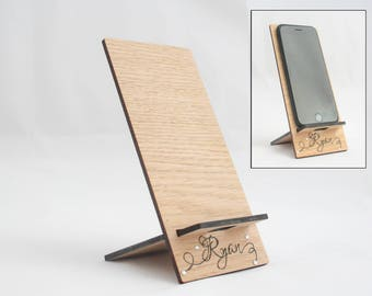 Lightweight Smartphone Holder, personalised, oak veneer or painted, stocking filler, christmas gift, small gift
