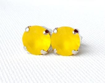 Yellow matte rhinestone stud earrings / 8mm / frosted rhinestone / girlfriend gift / Swarovski / gift for her / sunflower / birthday gift