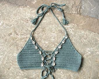Crochet top with shells, Coachella Crochet bikini top in petrol, Crochet bralete, Festival top, Bohemian summer top, Crochet halter top