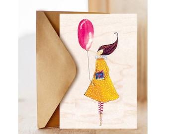"Wood card  ""Birthday baloon"", Romantic, Happy Birthday Card , Birthday Card for Friend, Optimisitc"